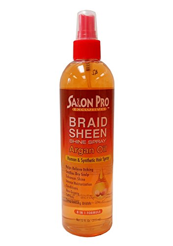 Salon Pro Braid Sheen Shine Spray 8 in 1 Formula 12 oz. / 355 ml (Argan Oil)