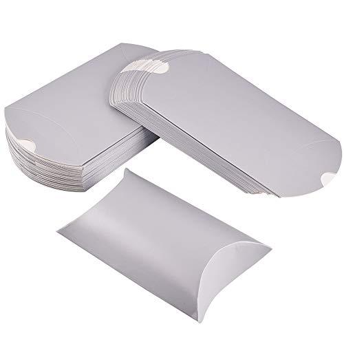 BENECREAT 100 Pack Caja de Craft Papel Plegable Caja de Regalo en Forma de Almohada Almacenamiento de Dulces para Boda Fiesta Cumpleaños Plateado
