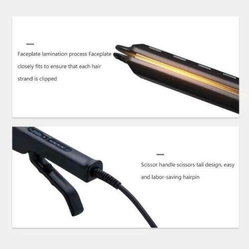 Flurries 👍 60W Hair Straightener - Professional Ceramic Tourmaline Flat Iron with Vapor Out - 4 Level Adjustable Temperature - Built-in Nano PTC - Treatment for Dry Wet Hair Home Salon (Black)