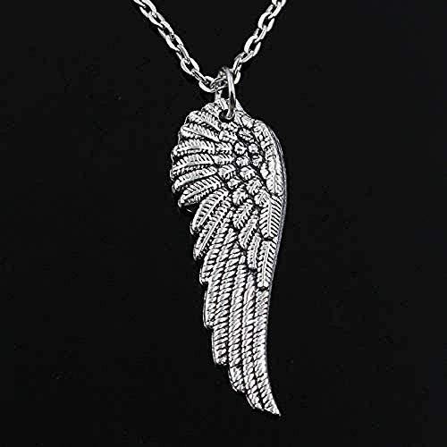 huangxuanchen co.,ltd Collar con Colgante de alas de ángel, Cadena Cruzada Redonda, Corto, Largo, Hombres, Mujeres, Collar de Plata, Regalo de joyería, 60 cm de Longitud