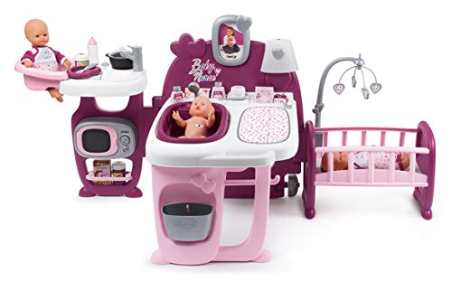 Smoby – Baby Nurse Spielcenter für Puppen – mit Puppenbett, Badewanne, Spielküche, Wickeltisch, viel Zubehör, Kinder ab 3 Jahren, rosa, lila