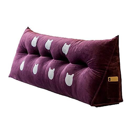 LXJ Cojines de Noche, Grandes respaldos, Almohadas Dobles Largos, Paquetes de cabecera, Suaves Almohadas del Respaldo Cintura, Grandes Cojines en Camas Tatami (Color : Purple, Size : 120x22x50cm)