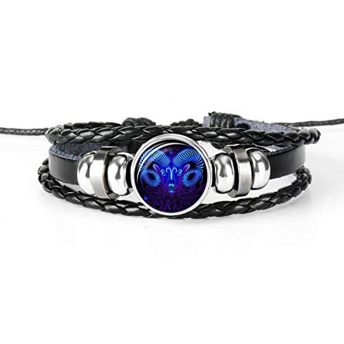 KJFUN 12 Constellatie Lichtgevende Armband Heren Leren Armband Armbanden Ram Vissen Waterman Leeuw Sieraden
