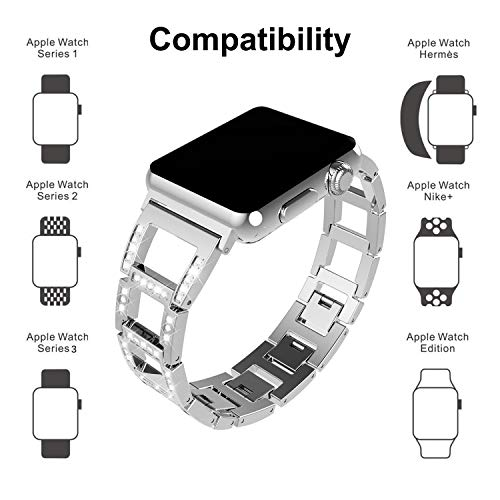 ITSHINY Replacement for Apple Watch Armband 38/40mm,Damen Metall Band für Iwatch Series 4 3 2 1(38/40mm, Silver)
