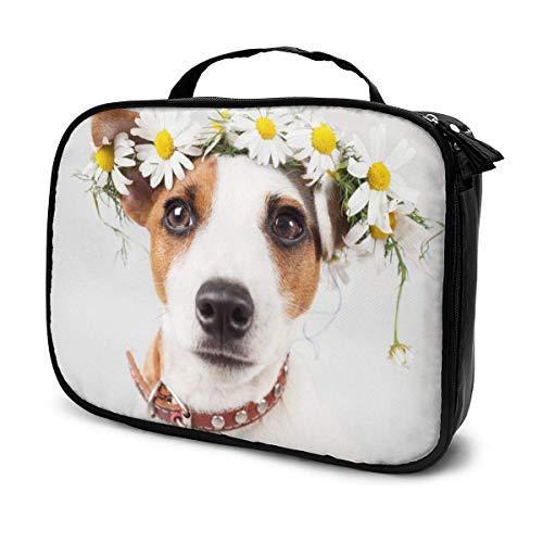 Organizador de bolsas de maquillaje de viaje para perro, de gran capacidad, portátil, separadores extraíbles, caja de maquillaje, bolsa de almacenamiento multiusos para niñas y mujeres