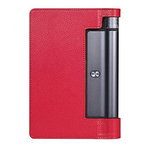 LIUCHEN Funda de tabletaFunda para Lenovo Yoga Tab 3 8.0 YT3-850F 850M Funda de Cuero PU Yoga Tab 10.1 Plus YT3-X50 X90F YT-X703 Funda de Cuero para Tableta, Rojo, Yoga YT, X703F 10.1