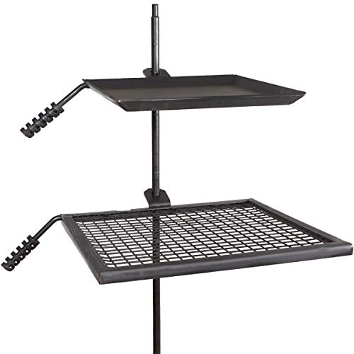 TITAN GREAT OUTDOORS Campfire Adjustable Swivel Grill Fire Pit Cooking Grate Griddle Plate BBQ