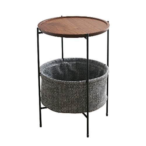 LICHUAN Side Table Vintage Round Side Table with Storage Basket Industrial Coffee Table Night Stand Wood Look Accent Furniture with Metal Frame End Table Easy Assembly
