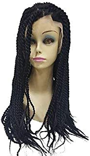 Women's Synthetic Lace Front Wig Long Afro Dark Black Faux Locs Wig African American Wig Natural Wigs Costume Wig