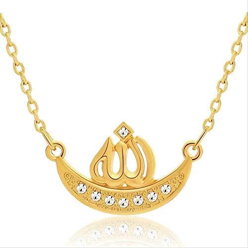 niuziyanfa Co.,ltd Collar con Colgante de Alá musulmán islámico para Mujeres y Hombres, Collar de Cristal de imitación, joyería Musulmana Religiosa