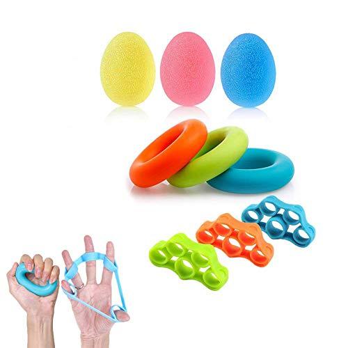 Premium Fingertrainer Klettern Ball Handtraining Handtrainer Set Hand Grip Trainer Strengthener Finger Exerciser Griffbälle Finger Stretcher Silikon zur Stärkung der Finger und Unterarme (9pcs)