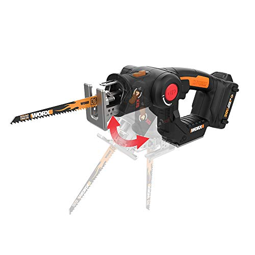 WORX WX550L.5 20V Cordless Reciprocating Saw Jig Saw with Orbital Mode, Variable Speed, & Tool-Free Blade Change System