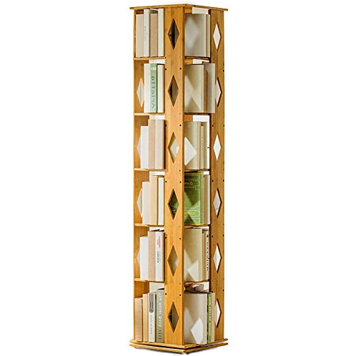 Flower Stand Adjustable Bamboo Bookshelf,3-6 tier Swivel Thickened Narrow Multifunctional Modern Tall bookcase Storage rack Open wood shelves -B 37x37x115cm(15x15x45),Size:37x37x115cm(15x15x45),Colour