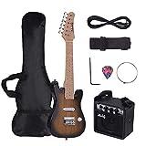 Muslady Kit de Guitarra Eléctrica ST para Niños 28 pulgadas Mástil de Arce Cuerpo de Paulownia