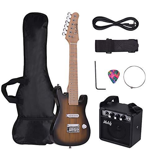 Muslady Kit de Guitarra Eléctrica ST para Niños 28 pulgadas Mástil de...