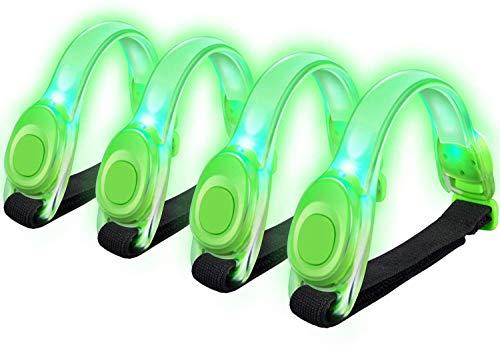Alviller LED Armbänder, Reflective 4 Stuck LED Armband für Laufen und Joggen (4 Grün)