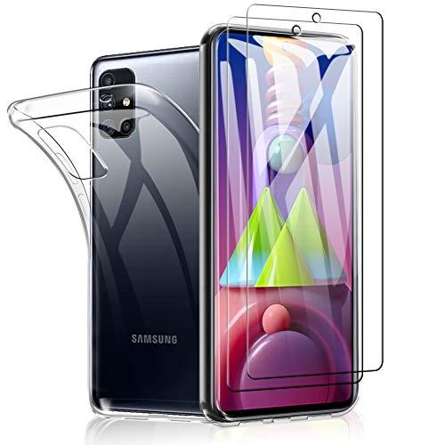SHINEZONE Panzerglas Schutzfolie für Samsung Galaxy M51, [2 Stück+Hülle] 9H Härte Transparent Klar Display Glas Schutzfolie,Anti-Kratzer Staub Displayfolie Panzerglasfolie für Samsung Galaxy M51