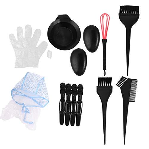 Lurrose 15 Pcs Kit De Teinture De Coloration Des Cheveux Professionnel Salon Kit De Teinture De Coloration Des Cheveux Gants Couvre Oreille Clips Salo
