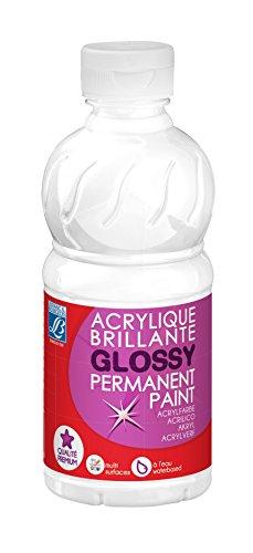 Lefranc Bourgeois - Acrylique liquide brillante Glossy pour enfants- Bouteille 250ml - Blanc