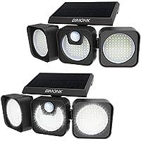 2-Pack Bimonk 2000LM Solar Motion Sensor Lights with 3 Adjustable Heads