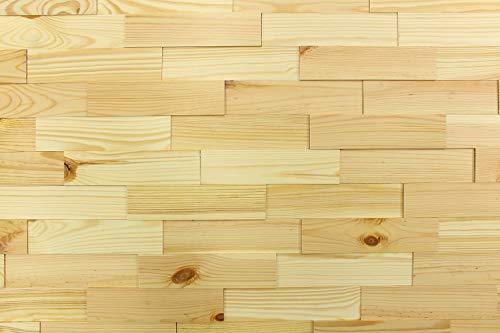 wodewa Revestimiento de pared de madera efecto 3D de pino nórdico, 1 m², paneles de pared modernos, decoración de pared, revestimiento de madera, salón, cocina, dormitorio, barnizado