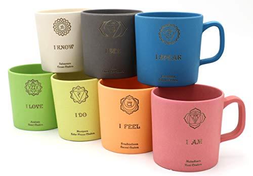 freakulized Chakren Kaffeebecher 7er Set nachhaltige 300ml Yoga Meditation & Energie Chakra Henkelbecher mit Bambus hergestellt