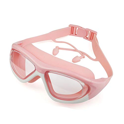 YOGA-YU Gafas De NatacióN con Montura Grande para NiñOs HD Gafas De NatacióN Impermeables Y Antivaho Correa De Silicona con Lente De Pc