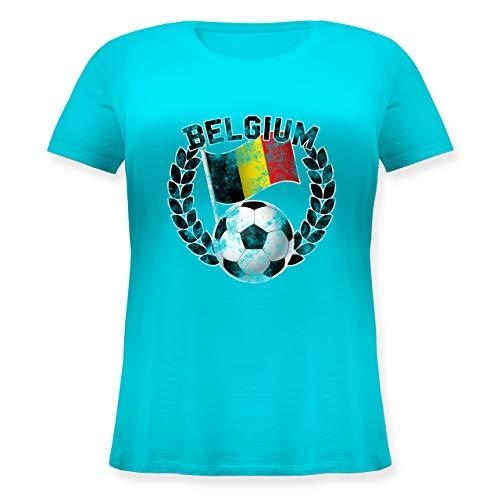 Fußball-Europameisterschaft 2020 - Belgium Flagge & Fußball Vintage - L (48) - Hellblau - Patriot - JHK601 - Lockeres Damen-Shirt in großen Größen mit Rundhalsausschnitt