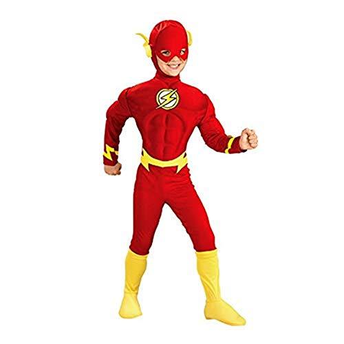 DC - Liga de la Justicia Película – Disfraz Flash Halloween Navidad Niños Muscular Cosplay Costume con Máscara (M 110-120)