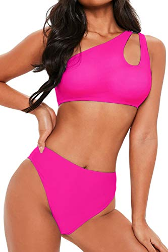 FAFOFA Ladies High Waisted Bikini Set One Shoulder Push up Cutout Bandage Two Pieces Bathing Suit S Pink