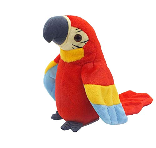 Cute Mimicry Pet Talking Parrot Repeats What You Say Plush Animal Toy Electronic Parrot Plush Toy, Animal Toy, Talking Bird,Birthday Present for Kids(RED)