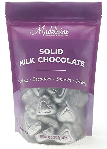 Madelaine Solid Premium Milk Chocolate Mini Hearts Wrapped In Italian Foil - 1 LB (Silver, 1 LB)