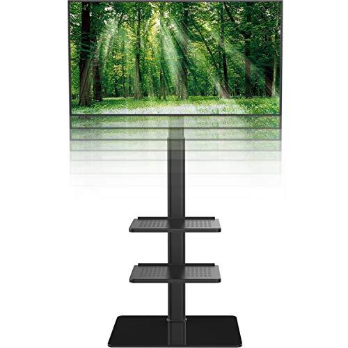 Hemuduplus TV Standfuß TV Ständer TV Bodenständer Fernsehstand Fernsehtisch mit Halterung höhenverstellbar für 19 bis 42 Zoll LED LCD TV Bildschirm, 3 Regale schwarz …