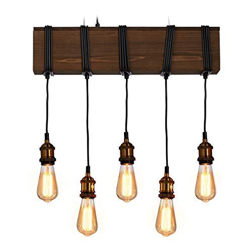 Relaxdays Pendelleuchte Holz, 5-flammig, E27, rustikal, Esszimmer u. Wohnzimmer, Holzleuchte HBT 157 x 56 x 13 cm, braun