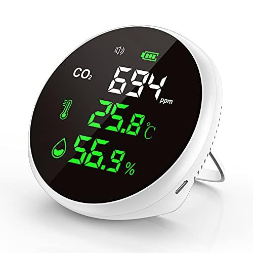 【高精度 CO2 測定器】 Kimwood 二酸化炭素濃度測定器 NDIR方式 CO2 センサー 温度/湿度測定機能付き 警報アラーム『改良進化版 消音でき』 USB充電式 大容量電池内蔵 400-5000PPM測定範囲