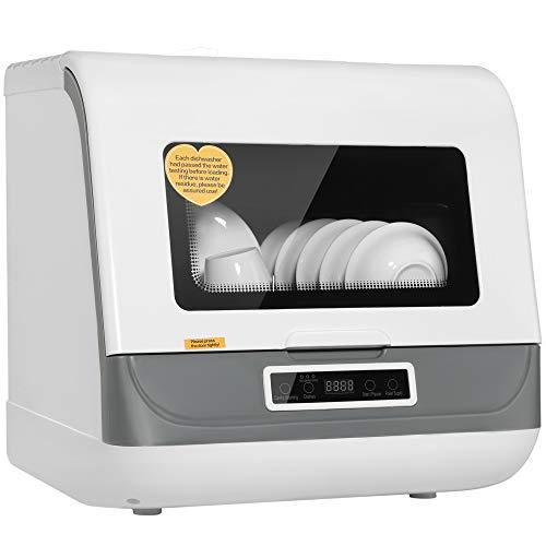 Lavavajillas BITOWAT, 6 juegos de cestas de tazón Lavavajillas de sobremesa, limpieza integral de 360 ° Lavaplatos compactos de gran capacidad, el proceso de lavado es visible