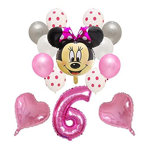 gzynyl Globos 14pcs Latex Globos Mickey Mouse Blowlon Fiesta de cumpleaños Decoraciones para niños Juguete Bebé Ducha Número Bola Air Globo (Color : 17)