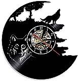Bosque Animal Lobo Reloj de Pared con Disco de Vinilo Accesorios de habitación Lobo aullador Arte de la Naturaleza Salvaje Reloj silencioso Sin garrapatas Mesa de Cama 12 Pulgadas