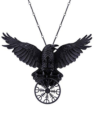Dark Dreams Gothic Halskette Amulett Necklace Rabe Krähe Hugin Munin Rune Asatru Restyle Helm of Awe Raven pendant
