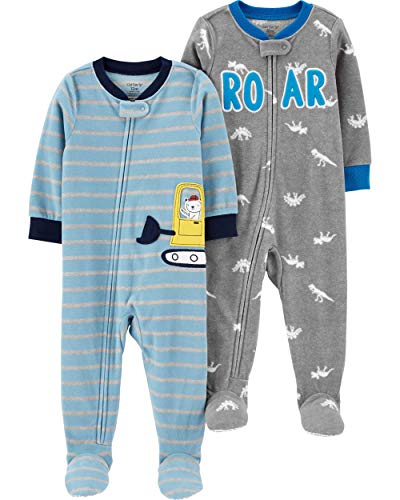 Carter's Boys' Toddler 2-Pack Loose Fit Fleece Footed Pajamas, Heather Grey/Construction, 2T