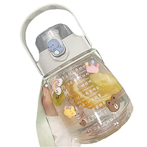 AOTEMAN Botella de agua botella de agua para niños taza de spray de agua de verano de plástico para niños taza de agua de paja a prueba de goteo botella de agua de trabajo deportes
