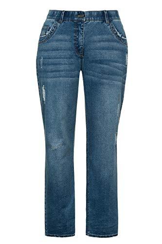 Ulla Popken Damen Leichter Waschung, Boyfriend Jeans, Blau (Bleached 92), (Herstellergröße: 50)