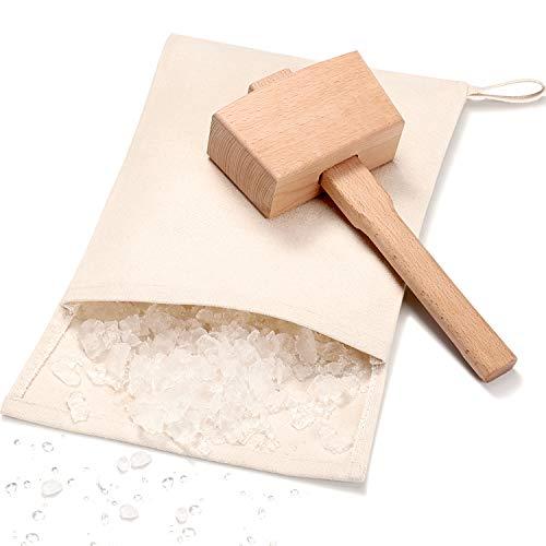 2 Stücke Lewis Bag Tasche Segeltuch Canvas Eisbeutel Wiederverwendbarer Segeltuch Tasche Eisbrecher Holzhammer Hammer für Sommer Bar Keeper Bar Zubehör