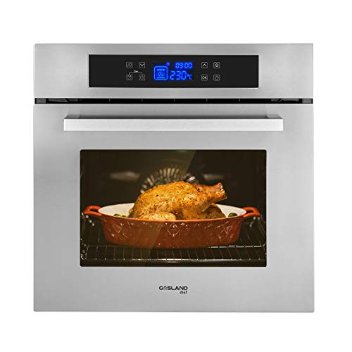 Single Wall Oven, GASLAND Chef ES611TS 24″ Built-in Electric Ovens, 240V 3200W 2.3Cu.f 11 Cooking Functions Convection Wall Oven with Rotisserie, Digital Display, Touch Control, Stainless Steel Finish