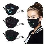 Snlaevx Erwachsene Mundschutz LED Sprachaktivierte Leuchtende Face Cover Einstellbar Wiederverwendbar Mund und Nasenschutz Gesichtsbedeckung Masquerade Festival Party (Schwarz)