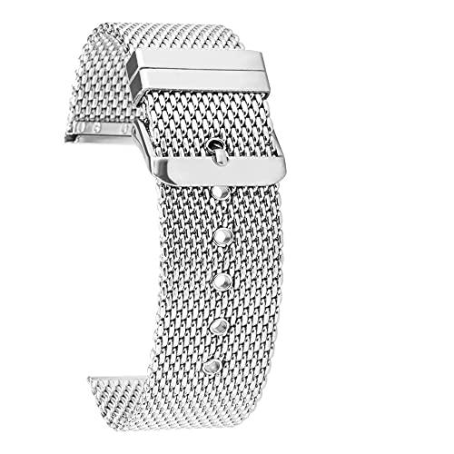HPTQJ Bandas de Reloj, liberación rápida Malla de tiburón de Acero Inoxidable Silver Reloj de Plata Correa de Cierre Plegable Banda de Reloj Correa Pulsera Pulsera Banda de muñeca Regalo cálido