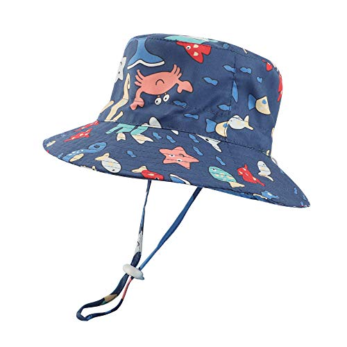 LACOFIA Sombrero de Sol bebé Gorro Verano para niñosSombrero Playa de ala Ancha UPF 50+ Proteccion solarpara niños con Correa Ajustable para la Barbilla Azul Marino 2-3 Anni