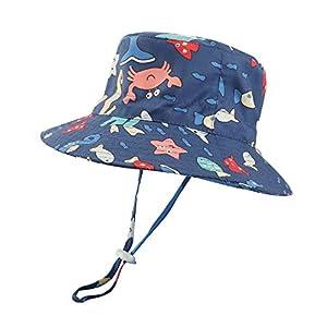 LACOFIA Sombrero de Sol bebé Gorro Verano para niñosSombrero Playa de ala Ancha Proteccion Solar para niños con Correa Ajustable para la Barbilla Azul Marino 6-12 MESI