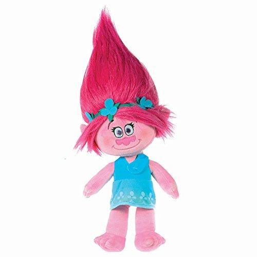 TROLLS - Peluche Princesa Poppy 47cm, Pelo Rosa Vestido Azul - Calidad Super Soft