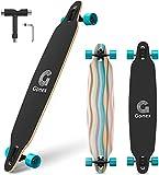 Gonex 42' Longboard Skateboard für Mädchen Erwachsene Anfänger und Kinder, Komplettes Skateboard 9-lagiger Ahorn Konkav Kreuzer with T Werkzeug, Blaue Streifen